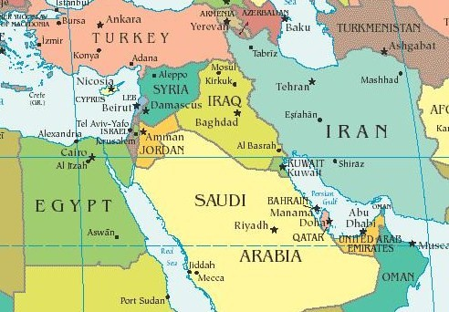 Middle East Political Map And Gulf Countries